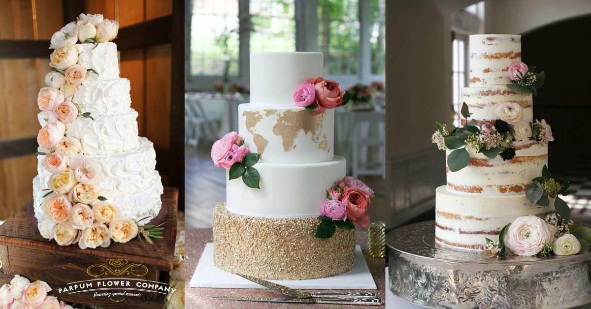 Bridal cake inspiration with garden roses from the Parfum Flower Company