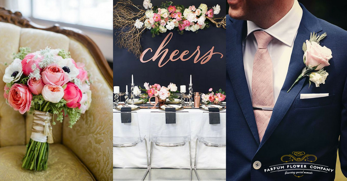 Pink Navy Wedding Inspiration with garden roses