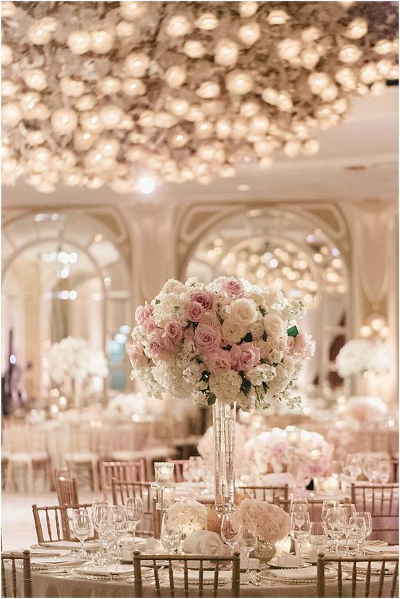 35 inspiring ideas for a blush wedding parfum flower company tall pink and white wedding flower arrangement by white lilac inc the david austin wedding mightylinksfo