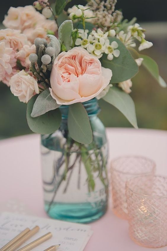A Really Nice Flower Decoration With David Austin Wedding Roses For Blush