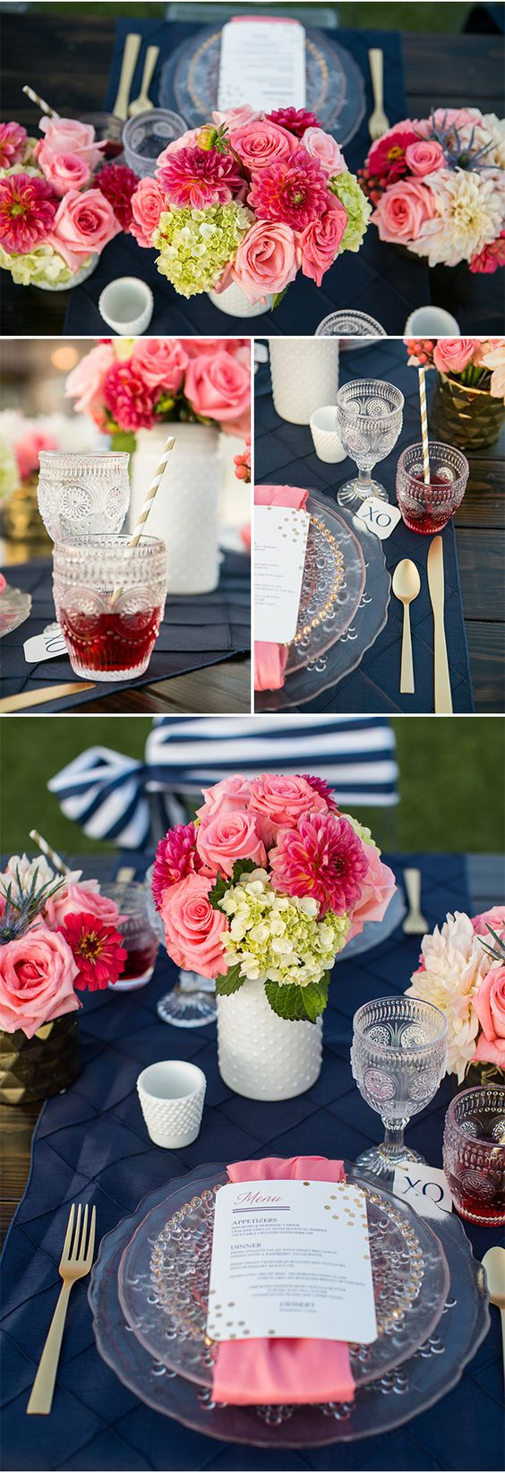 table setting navy pink