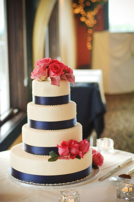 navy blue and hot pink wedding cake 20 great ideas for a pink navy wedding parfum flower company 17751