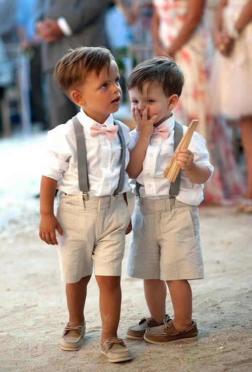 Cute little fellows with amazing outfits for a beach wedding.