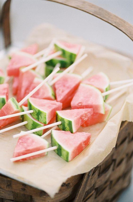 Cute watermelon refreshments for a beach wedding!