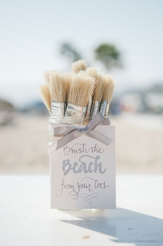 Cute and clever idea to get rid of that sand after a beach wedding.