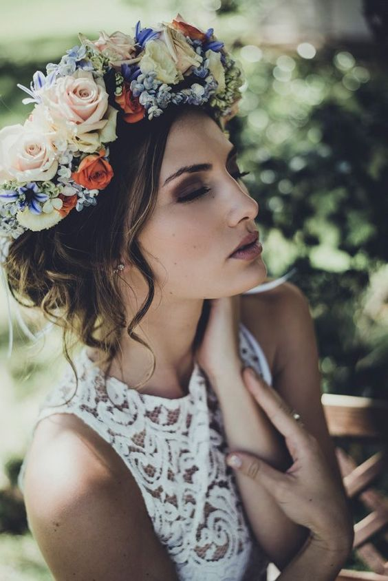 wedding hairstyle with lots of roses