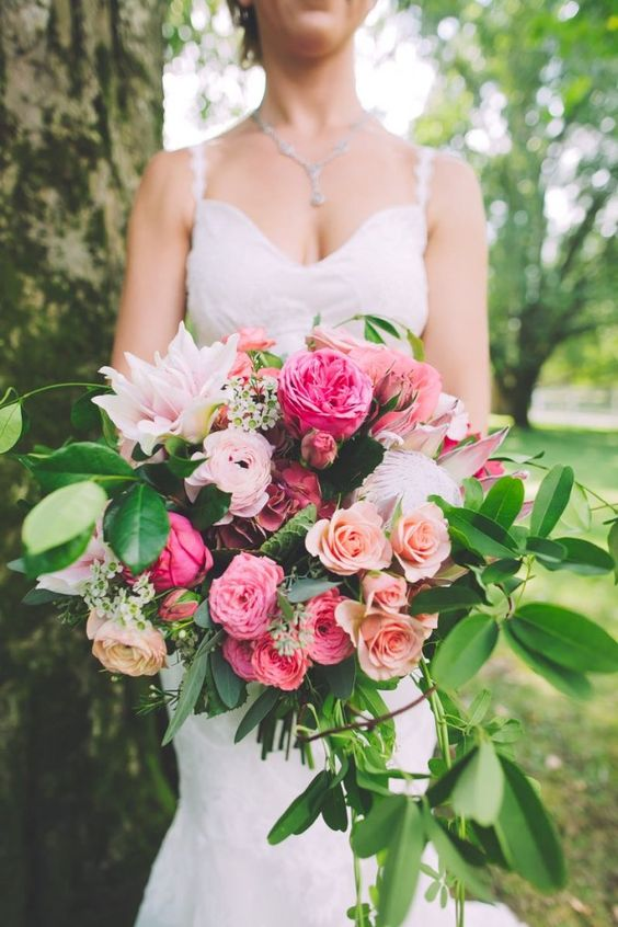 Stunning cascade bouquet with scented roses