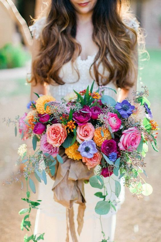 Bohemian Wedding Bouquet With Bright Colored Roses