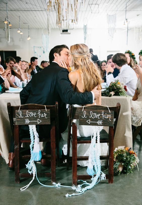 Really cute chairs in bohemian wedding style.