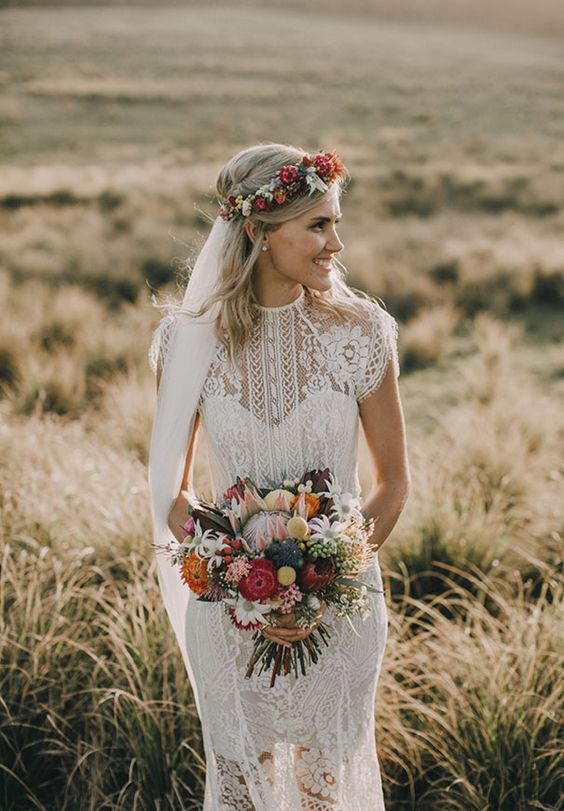 Gorgeous bride and wedding bouquet