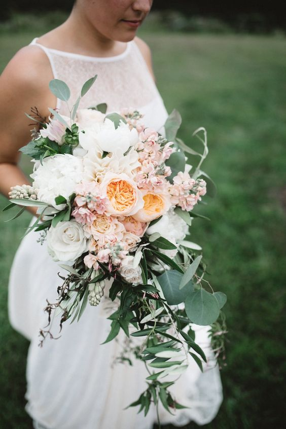Gorgeous cascade bouquet with Juliet roses. Great idea for a garden or bohemian wedding.