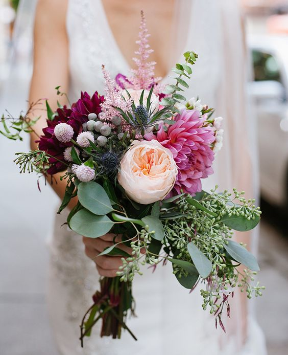 David Austin Wedding Rose Juliet combined with dark purple tones...match made in heaven!