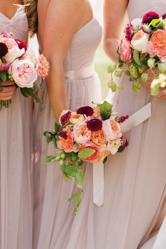 Stunning bride's maids bouquets with the David Austin Wedding Rose Juliet