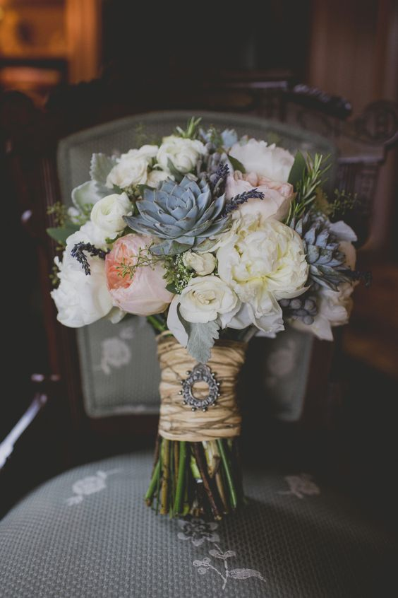 Wonderful bouquet for a fall wedding with Juliet roses and succulents.
