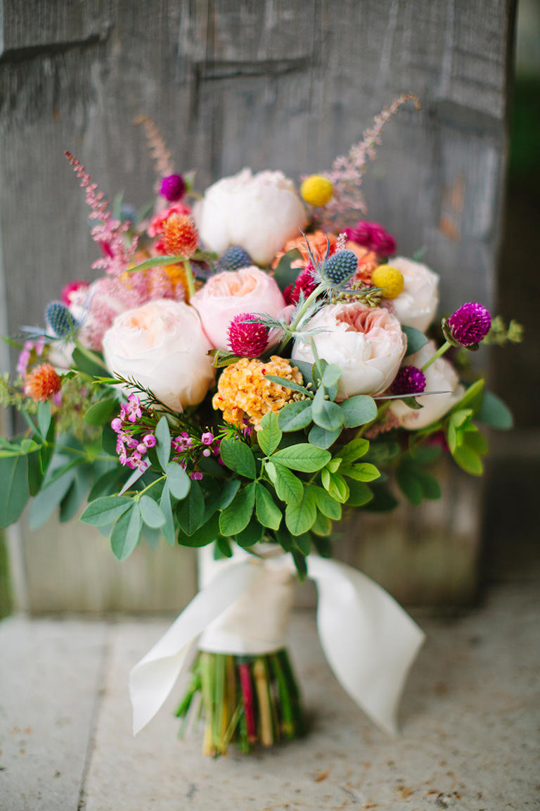 40 amazing bouquets with david austin roses purple wax flowers peach david austin roses juliet and yellow coxcomb filled with red clover blue sea holly rosemary yellow craspedia and light pink izmirmasajfo Image collections