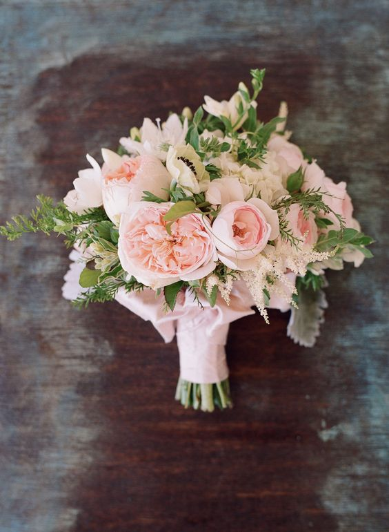 pink bouquet with david austin roses - Garden Rose Bouquet