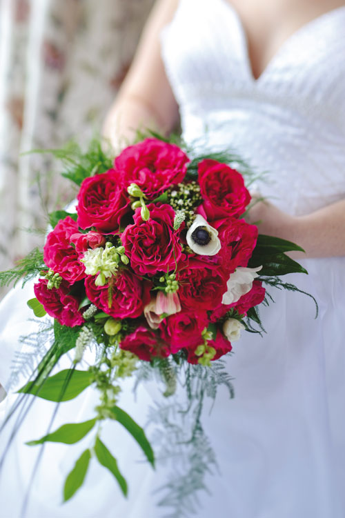 Wedding bouquet with David Austin Kate roses.