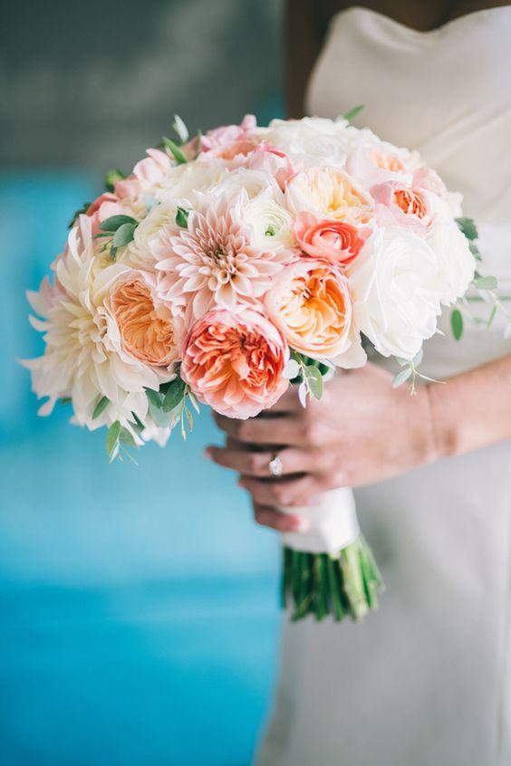 Bridal bouquet cafe au lait dahlias, David Austin Juliet garden roses, peach garden roses, ranunculus, white peonies.
