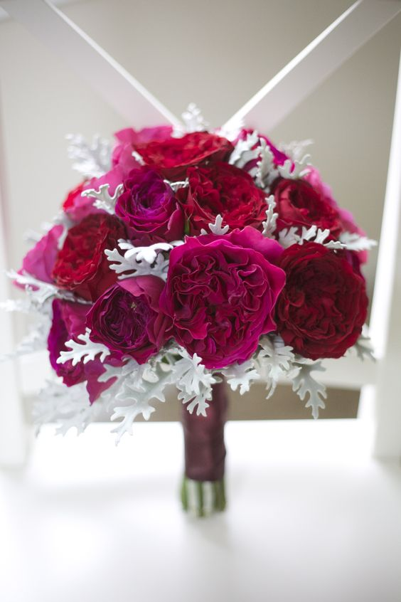 The David Austin roses Kate, Tess and Darcey look amazing in this hot pink winter bouquet .