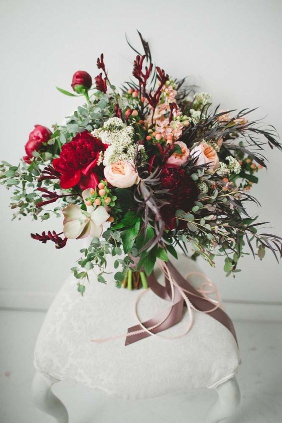 Bouquet with David Austin roses Juliet and red peonies