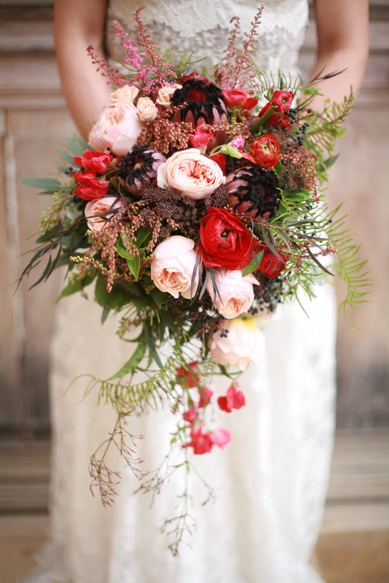Beautiful wildly arranged bouquet with David Austin roses for this fall.