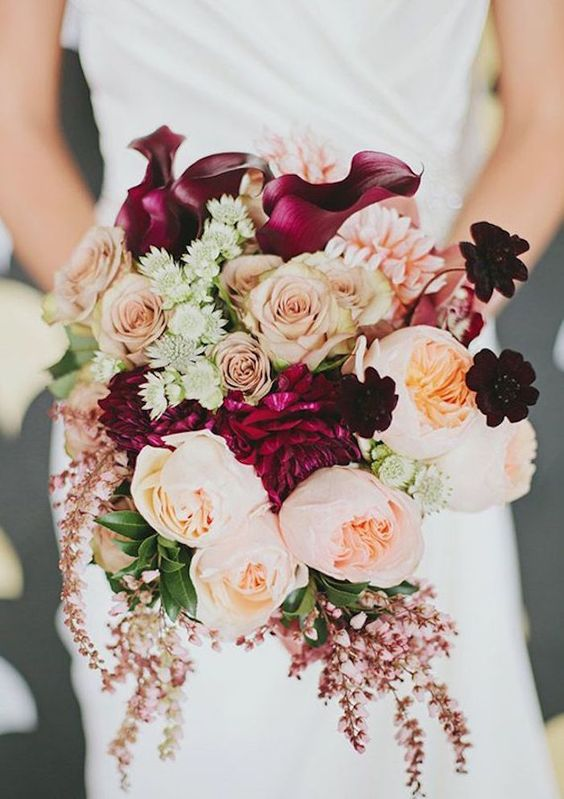 Beautiful fall inspired wedding bouquet with garden roses