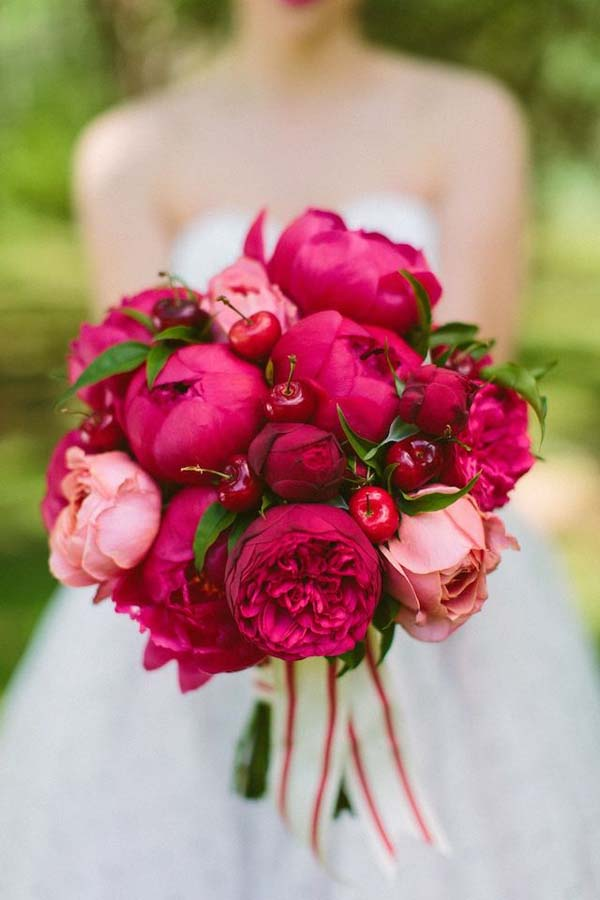 Hot pink garden roses, peonies and cherries. Gorgeous bouquet for this fall!
