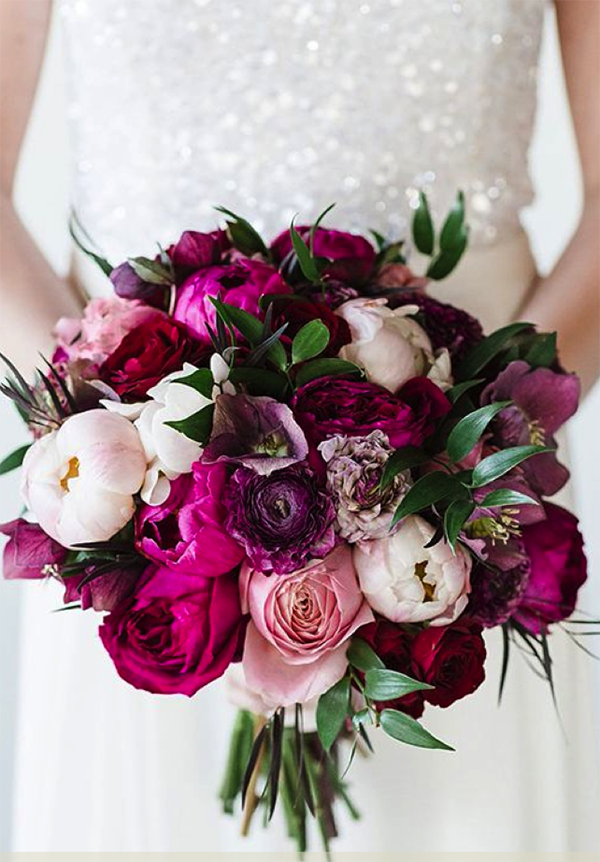 Gorgeous purple bouquet with peonies