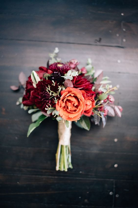 Winter warmth in this stunning bridal bouquet. Lovely roses for winter wedding bouquets.
