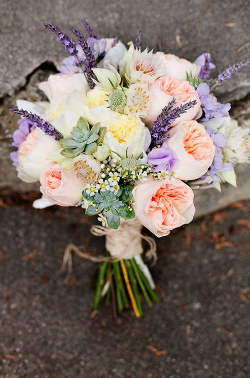 Or just with hints of lavender purple as in this garden rose bouquet with Juliet and Patience roses.