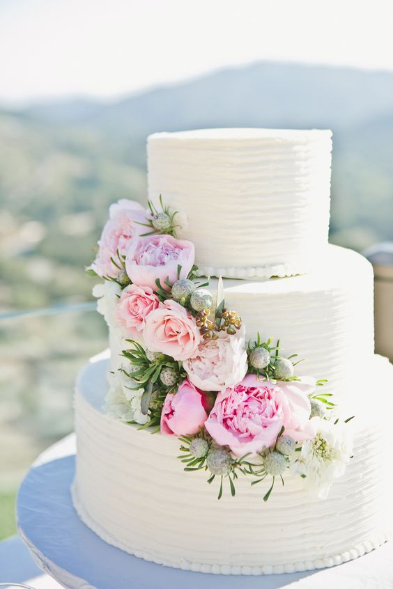 40 wedding cakes with roses you just cant resist a classic white wedding cake with peonies and mountains in the background yes please mightylinksfo
