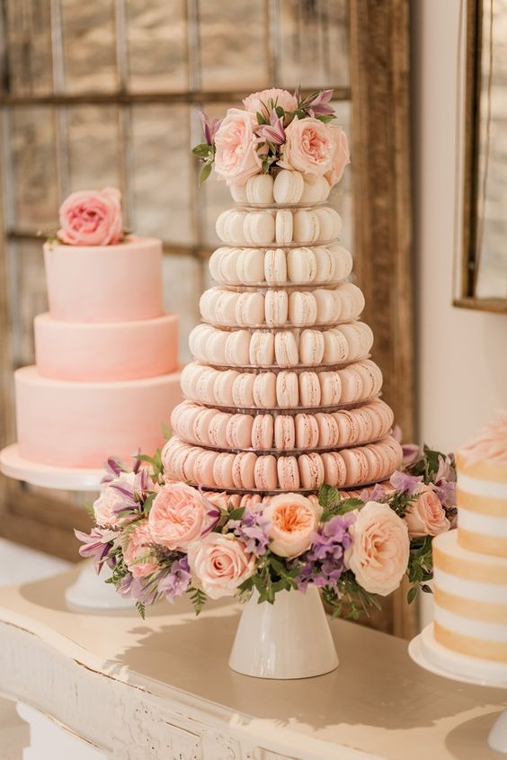 An ombre macaron wedding cake with roses. Juliet roses. So. Stunning!