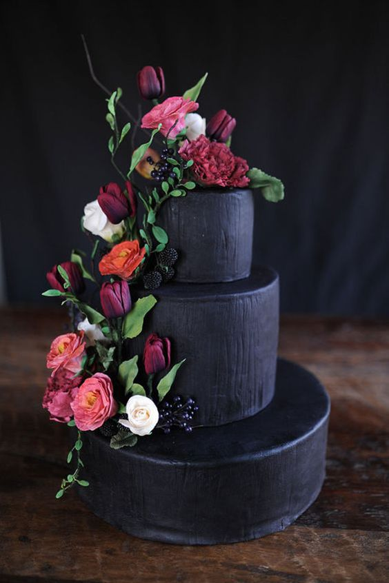 40 wedding cakes with roses you just cant resist black with vibrant colors now thats something different mightylinksfo