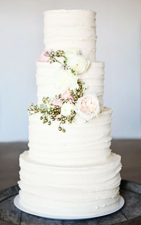 Gorgeous wedding cake for a Spring wedding. If you want soft cream roses, Purity is the one to go for.