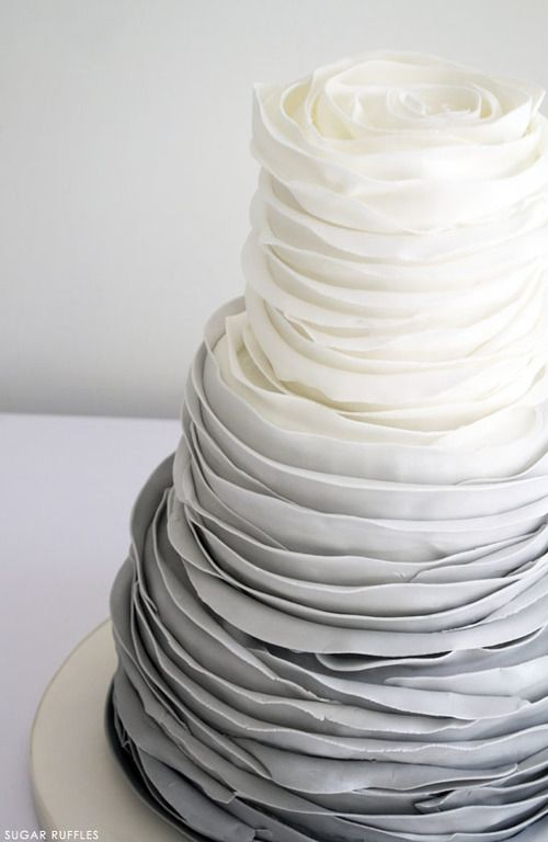 White and grey ombre wedding cake for a white/grey wedding theme