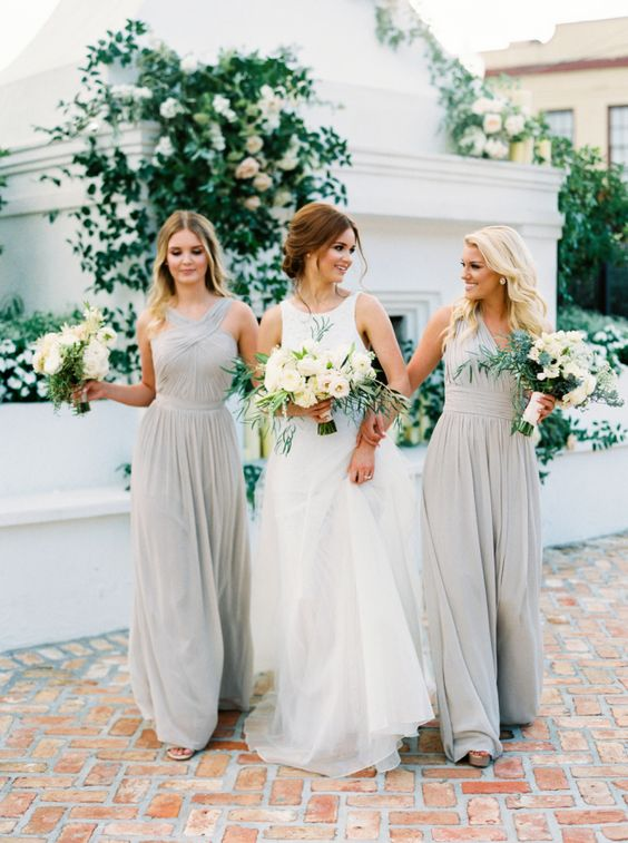 Bride and bridesmaids ideas for a white/grey wedding theme