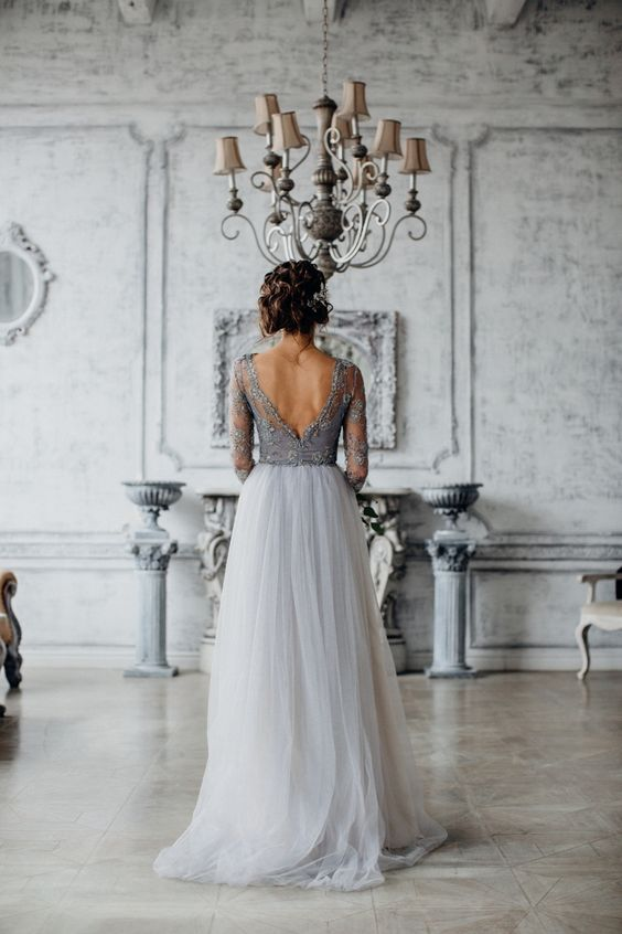 Gorgeous open back grey wedding dress.