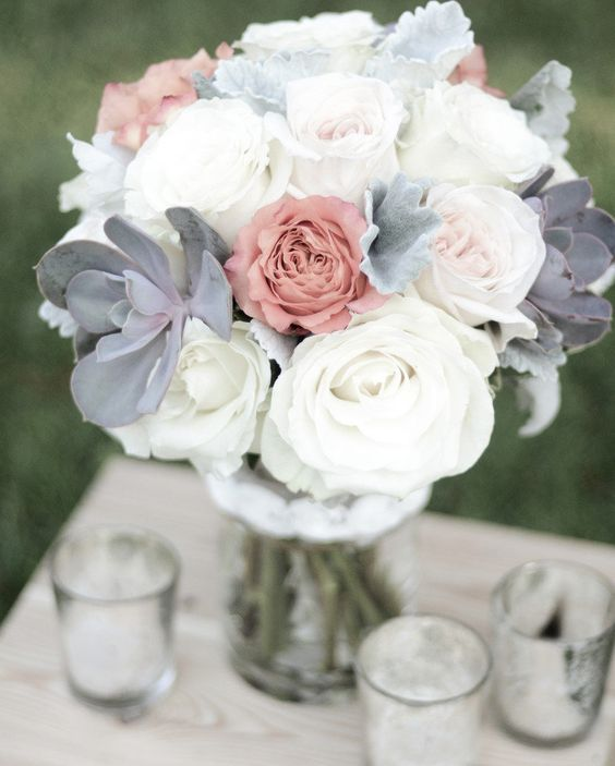 White and grey wedding bouquet with just a hint of old pink