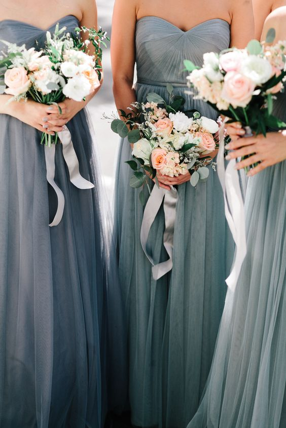 Grey bridesmaids dresses and garden rose bouquets <3