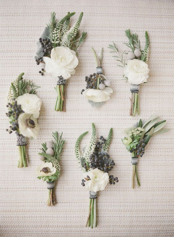 White boutonnieres. Love the natural garden look!