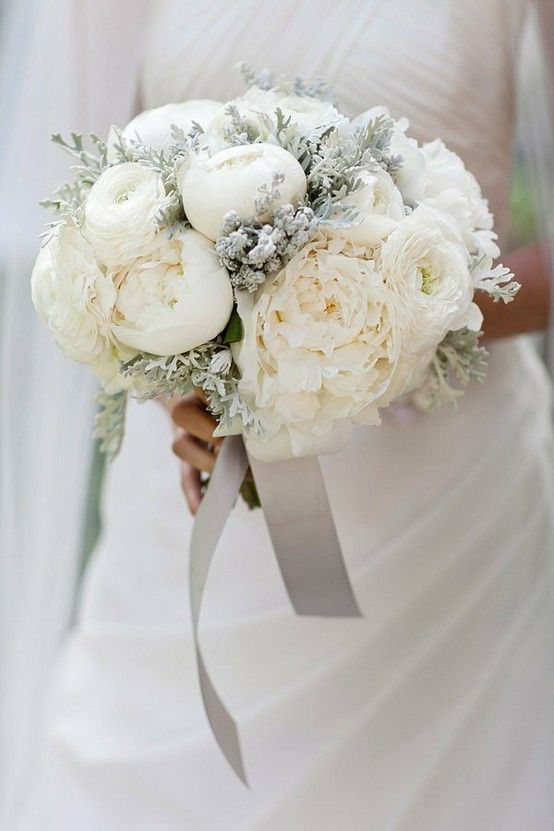 Beautiful White Wedding Bouquet With Peonies When The Are Out Of Season Yves