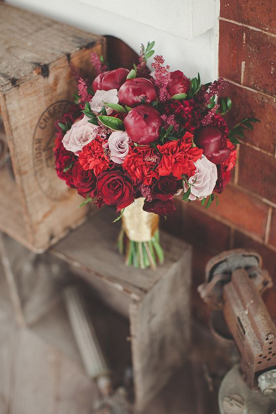 Dark romantic red and peonies. Love it!