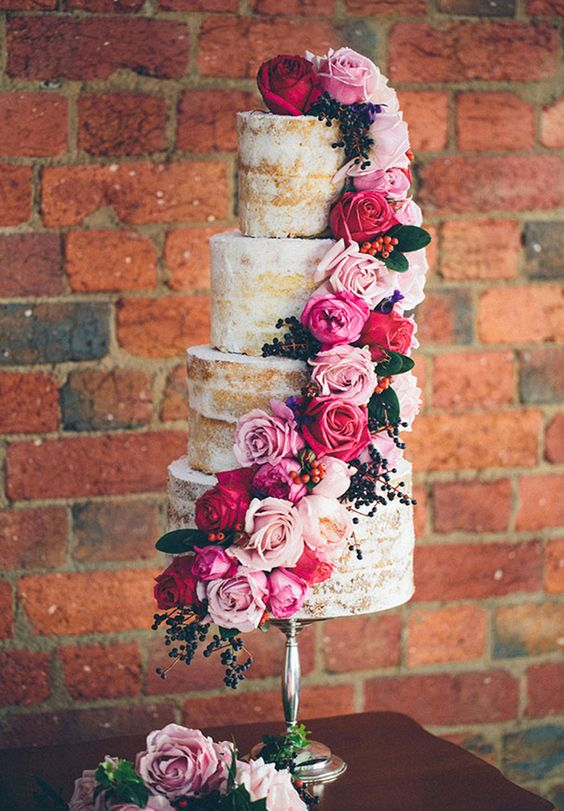 Natural semi naked cake with roses, roses and more roses!