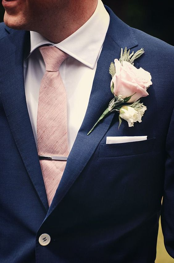 Soft pink combines wonderfully with dark navy colors.