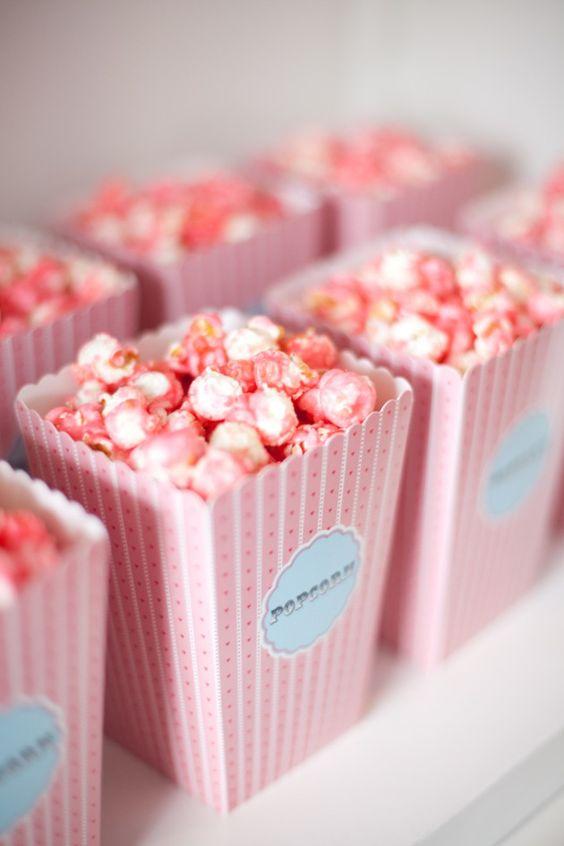 Pink popcorn. How cute!