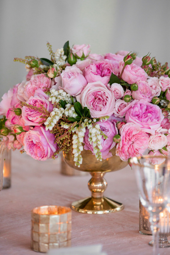 Pink and gold floral centerpiece.