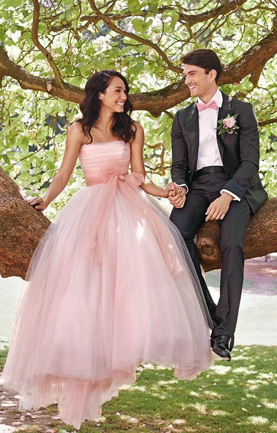 Lovely blush/pink wedding dress with layers of tulle.