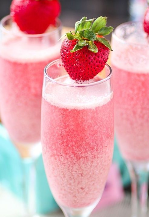 Bubbly sparkling champagne with refreshing raspberry and strawberry frozen cream.