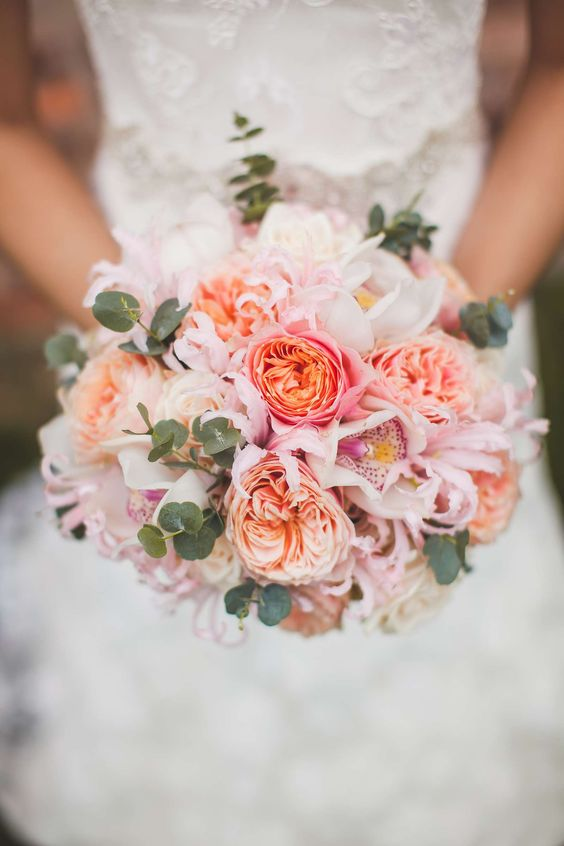 Pink with coral Edith roses.