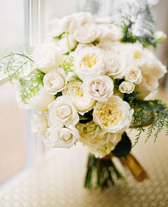 sweet white garden style bouquet - White Patience Garden Rose